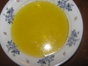 We started out with a plain bowl of yellow Jell-O. Thev night before, we made it like normal jello, but we added one box of Knox Gelatin and an extra cup of cold water.